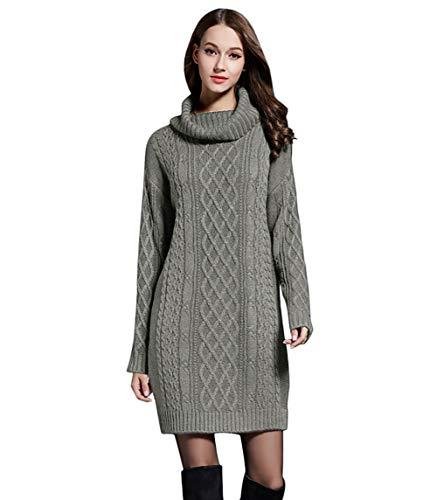 Sukienka z dzianiny/sweter z golfem dla kobiet, długie rękawy, wygodna, jednokolorowa, rozmiar M do XXXXL