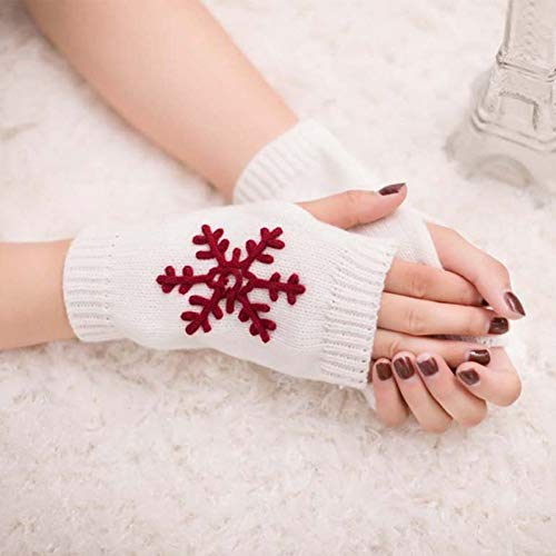 Huasho 1 Paar Womren Girl Soft Winter gestrickte halbe Stickerei Schneeflocken Fingerlose Handschuhe,WT