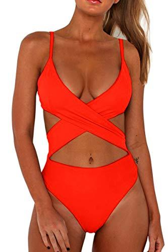 CHYRII Ladies Sexy Padded Push Up Bikini Criss Cross Cutout High Waisted Bathing Suits Orange M