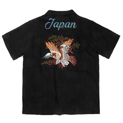 メンズ用 半袖刺繍シャツ 鷲 鷹 1615 (L, ブラック)