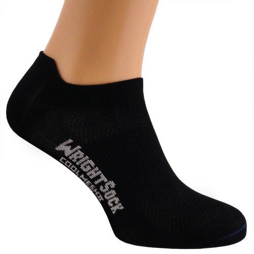 Wrightsock Profi Sportsocke, Laufsocke, Sneakers Modell Coolmesh II in schwarz, Anti-Blasen-System, doppel-lagig, Low Tab kurz, Gr. M