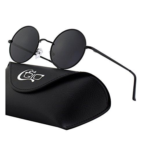 CGID E01 Estilo Vintage Retro Lennon inspirado círculo metálico redondo gafas de sol polarizadas para hombres y mujeres
