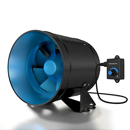 "TerraBloom ECMF-200, Quiet 8"" Inline Duct Fan with 0-100% Variable Speed Controller, Air Tight Metal Casing, Energy Efficient EC Motor. Heating, Ventilation and Exhaust Blower For Large Spaces and Tents"