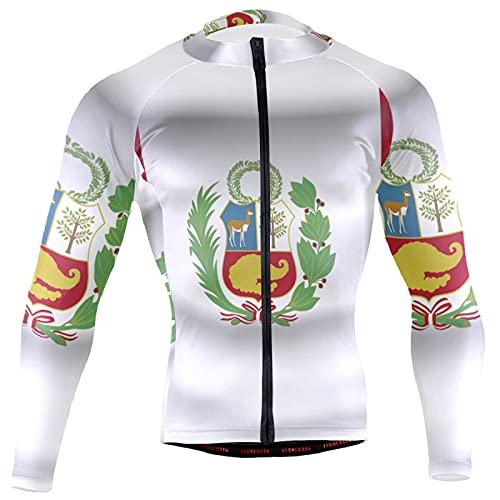 Magnesis Camiseta de manga larga para hombre, diseño de bandera de Perú