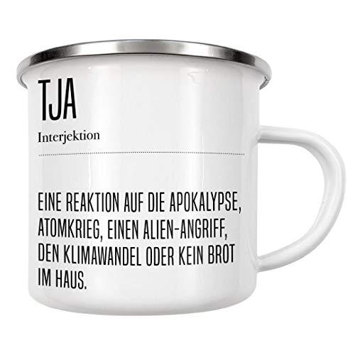 artboxONE Emaille Tasse Tja Definition von AB1 Edition - Emaille Becher Typografie