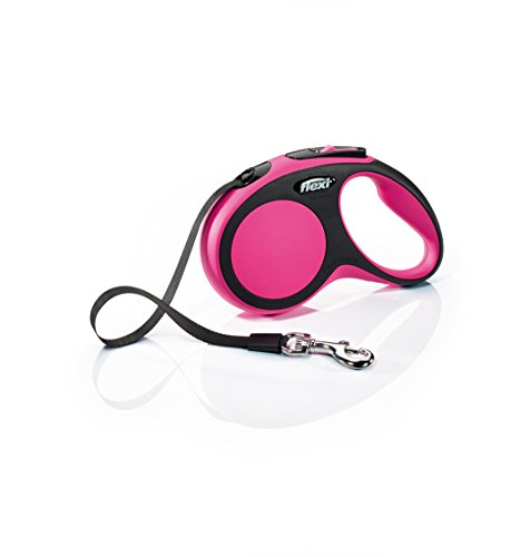 FLEXI New Comfort Retractable Dog Leash (Tape), 16 ft, Small, Pink