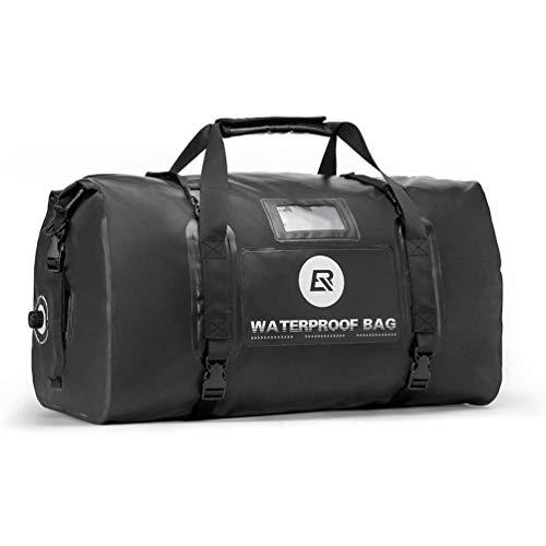 ROCKBROS Motorradtasche Gepäckrolle Hecktasche 100% Wasserdicht Motorrad Satteltasche mit Schultergurt ca. 55L Schwarz