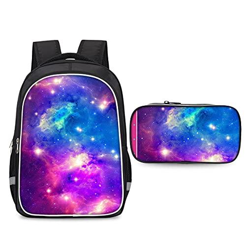 3D Sky Starry Sky and Lilky Way Sac à Dos Sac à Dos + Sac Crayon pour l'étudiant Sac à Dos extérieur Portable School Daypack léger Sac à randonnée légère et léger Sac de Voyage Haute capacité