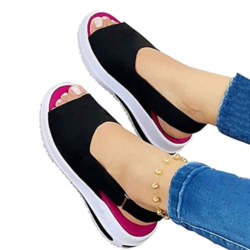 Sandalias De Mujer Retro Mocasines con Cabeza Redonda, Diseño De Hebilla Zapatos...