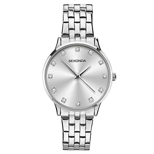 Sekonda Reloj clásico de cuarzo de plata de acero inoxidable pulsera de señoras 2960