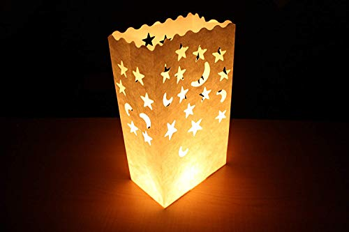 Trendario 10 x Lichtertüten Windlicht Lichttüte Lichttüten Lichtertüte Kerzentüte CandleBags Mond & Sterne