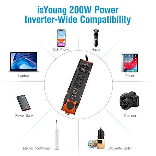 isYoung 200W Car Power Inverter, AC Inverter Car Plug Converter with 4 USB Ports(2.4A)2 AC Outlets 1 Type-c Port 1 DC Cigarette Lighter(3.18FT Cable)