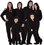 Footed Pajamas - Family Matching Raven Black Hoodie Onesies for Boys, Girls, Men, Women and Pets - Kids - Large (Fits 4'9-4'11')