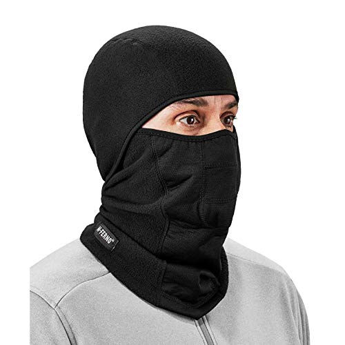 Ergodyne N-Ferno 6823 Balaclava Ski Mask, Wind-Resistant Face Mask, Hinged Design, Each, Black, One Size
