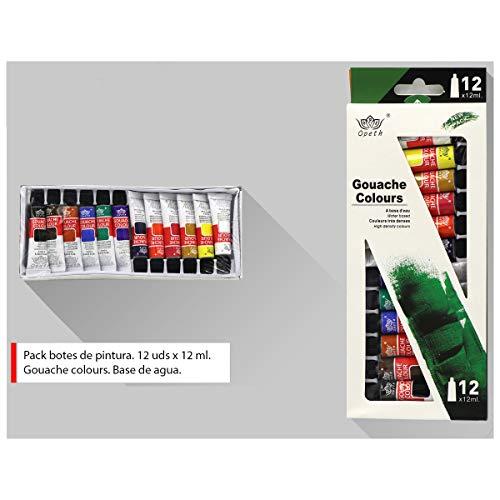 Pack de 12 botes de pintura de 12 ml. Gouache colours, con base de agua. Modelos de colores disponibles en la fotografía.