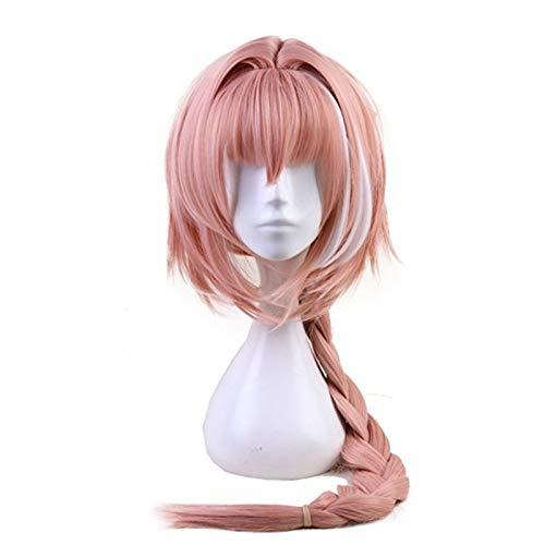 Juego Fate Apocryph Astolfo Cosplay pelucas larga trenza rosa resistente al calor pelo sinttico Halloween carnaval disfraz peluca