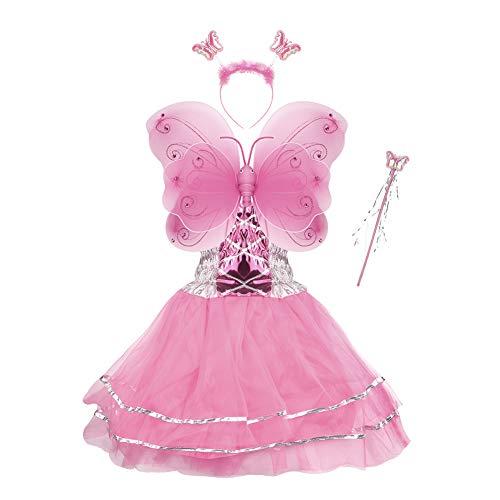 VOWOV Fee Kostüm Kinder,Mädchen Schmetterling Feenflügel kostüm mit Tüllrock , Flügel , Zauberstab und Stirnband, Mädchen feenflügel Verkleiden Kostüme 3 bis 10 Jahren