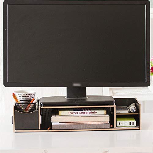 Cxraiy-HO - Caja de almacenamiento de escritorio para ordenador o portátil, estante de almacenamiento de madera para escritorio (color: negro, tamaño: 48 x 20 x 9,5 cm)