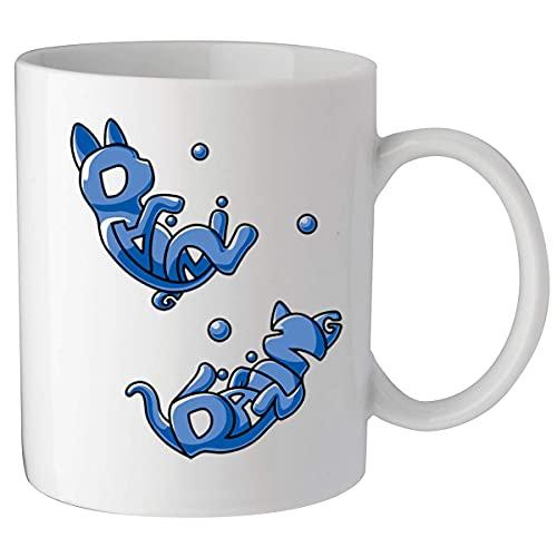 Taza de cerámica para té, diseño de gatos cósmicos Alien