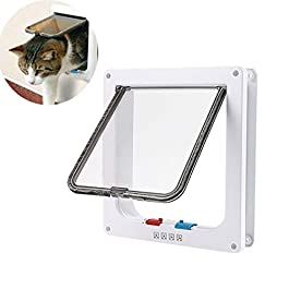RCRuning-EU Cat Flap, Pet Door, 4-Way Lockable, Fast installation Flaps for Pet Cats L Large (9.21″ x 9.84″, White)