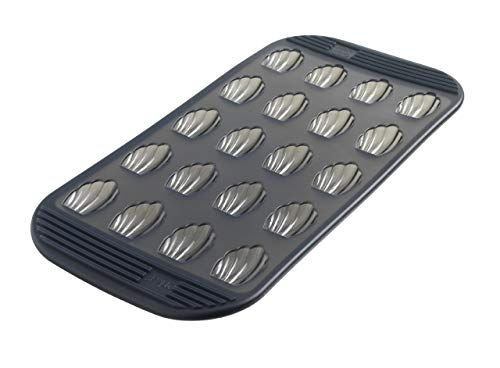 MASTRAD - Moule 20 Mini Madeleines - 100% Silicone Premium - Anti-Adhésif - Maintien Parfait - Gris Fumé