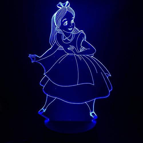 Lámpara De Ilusión 3D Luz De Noche Led Figura De Princesa Alicia En El País De Las Maravillas Decorativa Niños Habitación De Niños Decoración Batería Usb
