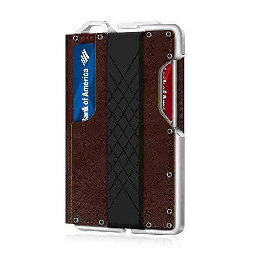 MURADIN Dapper Leather Bifold Wallet – Genuine Tactical Wallet – Minimalist Card Wallet for Men – RFID-Blocking Aluminum Metal Slim Wallet (Brown)