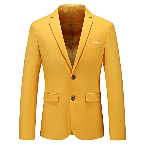 Mens Casual Two Button Suit Jacket Single Breasted Modern Wedding Tux Blazer US Size 36 (Label Size 2XL) Yellow