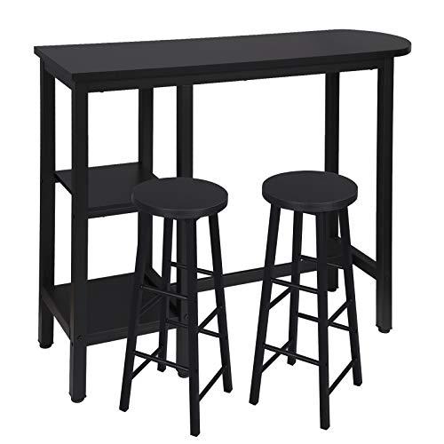 WOLTU Set Mesa de Bar y 2 uds. Taburete de Bar Muebles Cocina Silla de Comedor Mesa de Bar para Salon Metal+MDF 130x40x100cm Negro BT31sz+BH130sz-2