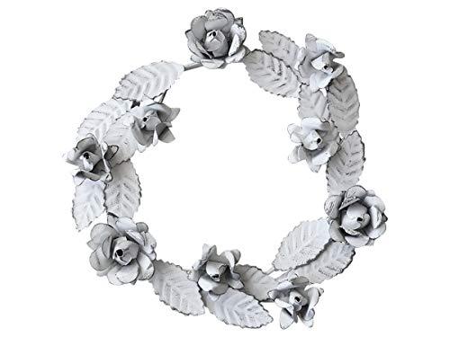 Chic Antique–Corona decorativa di rose e dei fogli bianco antico