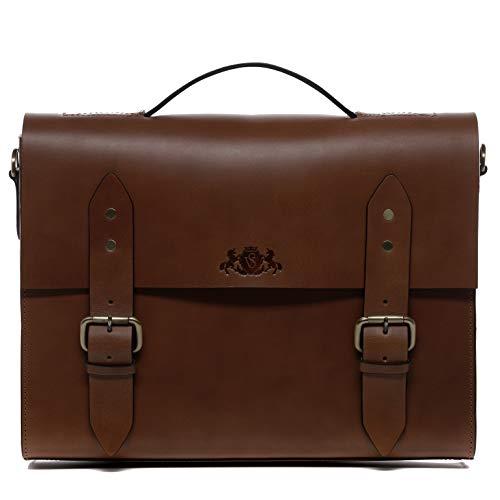 SID & VAIN Briefcase Boston Large Office Laptop Business Bag Real Leather 15.4 inch Laptop Portable Computer Shoulder Bag Leather Bag Men´s Bag Brown