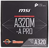 MSI A320M-A Pro - Placa Base AM4 Micro ATX AMD A320 A320M-A Pro, AMD, ubicación AM4, AMD Athlon, AMD Ryzen, DDR4-SDRAM, DIMM, 1866, 2133, 2400, 2667 y 2933, 3200 MHz