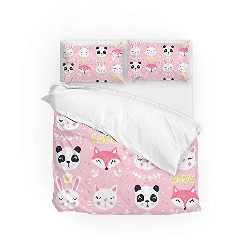 Soft Quilt Bedding Set Fox Panda Cat Duvet Cover with Pillowcases 2 Pieces Set 135 x 200 CM,Single Size