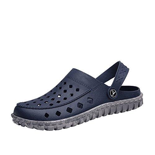 Zapatos CHENXD, Los Hombres evitan Las Mulas livianas resbaladizas Mules Flat Heel Hamp Vamp Slip On Sandalias Impermeables de Playa (Color : Blue Gray, tamaño : 40 EU)