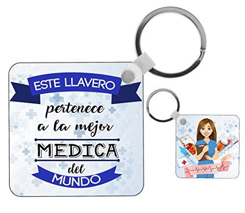 Kembilove Llavero de Médica - Este Llavero Pertenece a la Mejor Médica del Mundo - Regalos Originales para Regalar a Trabajadores Profesionales - Regalo Personalizado para Médicas
