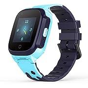 YONTEX 4G Kinder Smartwatch Wasserdicht IPX7, unterstützt 4G Präzise Positionierung Tracker, mit SOS, Videoanruf, Voice Chat, Anruf, Remote-Fotografie, GEO-Zaun (Blau)