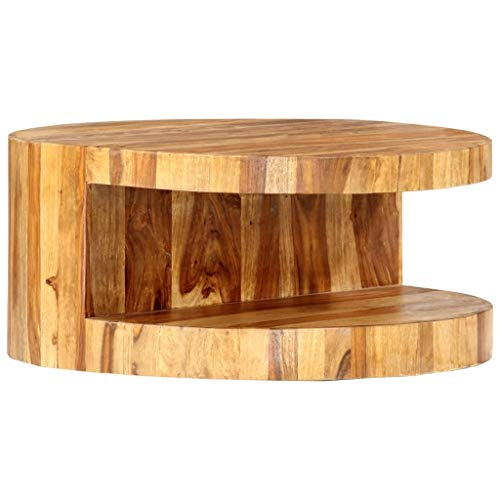vidaXL Sheesham-Holz Massiv Couchtisch Beistelltisch Wohnzimmertisch Holztisch Sofatisch Kaffeetisch Teetisch Palisander Rund 65x30cm