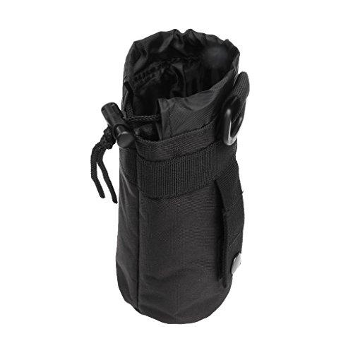 perfk Bolso Aire Libre de Botella de Agua Impermeable de Nailon Mochila de Deportes Escalada - Negro