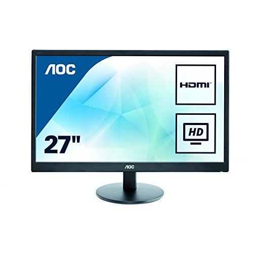 AOC E2775SJ 68,6 cm (27 Zoll) Monitor (VGA, DVI, HDMI, 1920x1080, 60 Hz, 2ms Reaktionszeit) schwarz