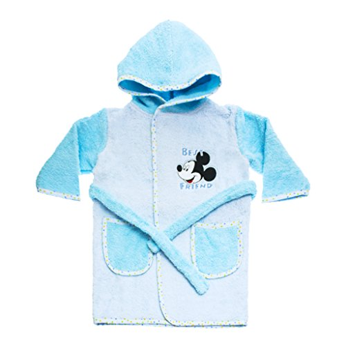 Disney Baby Kinder-BADEMANTEL Jungen mit Mickey Mouse Motiv, Kapuzen-BADETUCH, Baby-Handtuch mit Taschen in Grösse 86-92, 98-104, 110-116 Baumwolle Frotteer Farbe Hellblau, Größe 98-104
