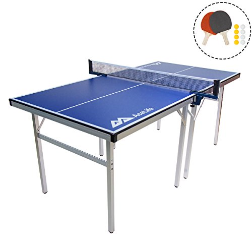 Best Prices! AceLife Ping Pong Table Midsize Compact Table Tennis Set with Net Paddles and Balls, Mu...