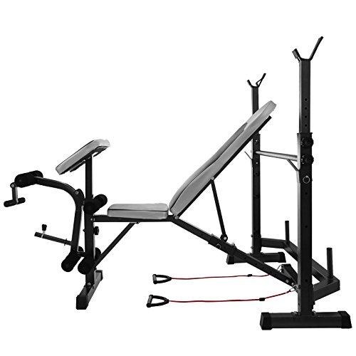 Happybuy Olympic Weight Bench for Full Body Workout Exercise Olympic Bench Adjustable 660lbs Bench Split Type Multi-Functional Weight Bench Set for Indoor Exercise (Split Type)