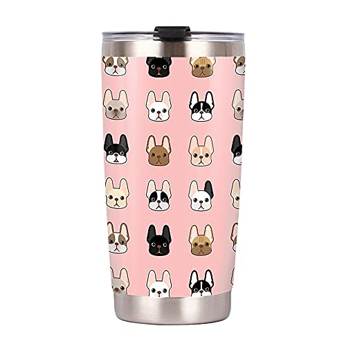 FAMCUSTOM 20oz French Bulldog Frenchie Lover Stainless Steel Tumbler With Lid, Double Vacuum Coffee Tumbler Cup Travel Coffee Mug