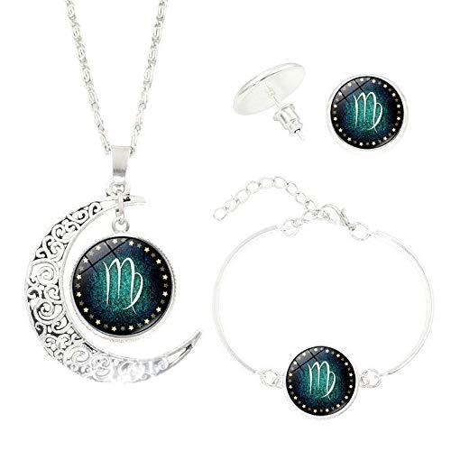 Bluelucon Collares Mujer Collar de Doce Constelaciones Collar de Plata con decoración de Media Luna Conjunto de Collar, Pulsera, Pendientes Regalo de San Valentín