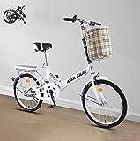 Faltrad Damenfahrrad 16inch 20'' Stadtfahrrad Komfortables Singlespeed mit Korb + Ablage, tragbares leichtes Fahrrad Unisex Studentenfahren(Color:White,Size:20'')