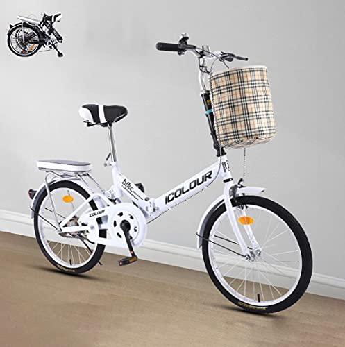 Vélo Pliant Dames bike16inch 20 '' vélo de Ville Confortable à Vitesse Unique avec Panier + étagère, vélo léger Portable équitation étudiant Unisexe(Color:White,Size:20'')
