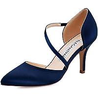 ElegantPark HC1711 Punta Estrecha de Las Mujeres Tacones de Aguja Zapatos de la Corte Correas Boda Fiesta de graduación Zapatos Nupciales Azul Marino EU 38