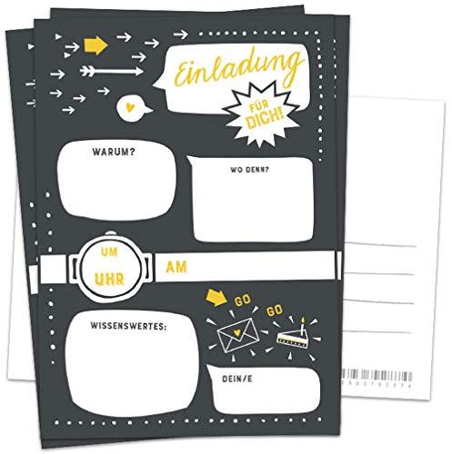 10 Einladungskarten - Einladung für dich - Schwarz Weiß Gelb, Postkarten Einladungen zum Geburtstag, Party, Einzug, Abschluss, Abschiedsfest u.v.m, retro Industrial Design mit Adressfeld