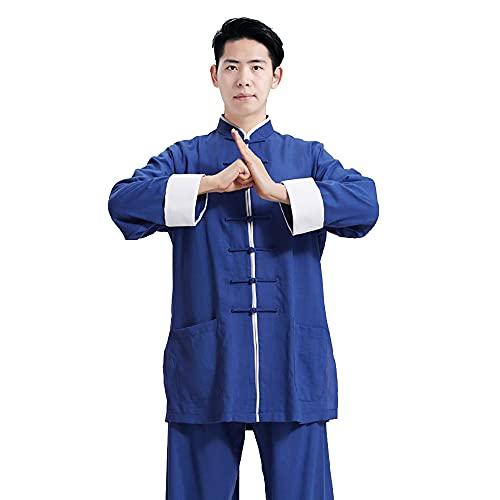 Tai Chi Kleidung Damen - Herren Kung Fu Kampfsportbekleidung Leinen Baumwolle Langarm Frühling Sommer Morgen Sportswear Übergröße,Blue-Medium