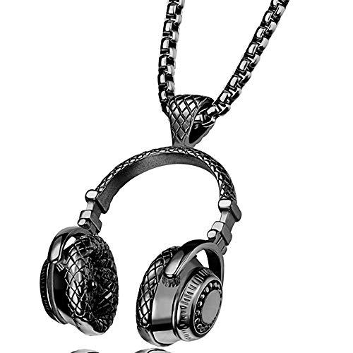 HKJCC Frauen Unisex Geometrische Anhänger Halskette Titan Stahl Sport Weiße Halskette Schmuck Einteiliger Anzug Für Zeremonie Neues Jahr,Black